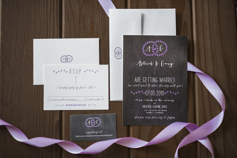 Purple and Ivory Wedding Invitation Stationery | Tampa Wedding Stationery and Invitations Citrus Press Co.