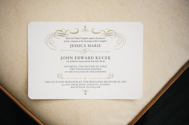 Elegant Ivory and Gold Formal Wedding Invitation