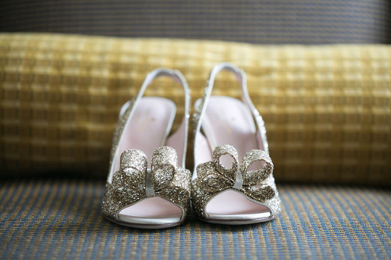 Gold Sparkly Bling Wedding Shoes with Bow Accent | Kate Spade 'Charm' Slingback Pump | Tampa Wedding Photographer Carrie Wildes Photography