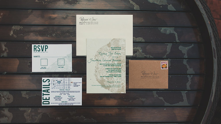 Eco Friendly Earth Tone Wedding Invitation Suite from Forever Fiances