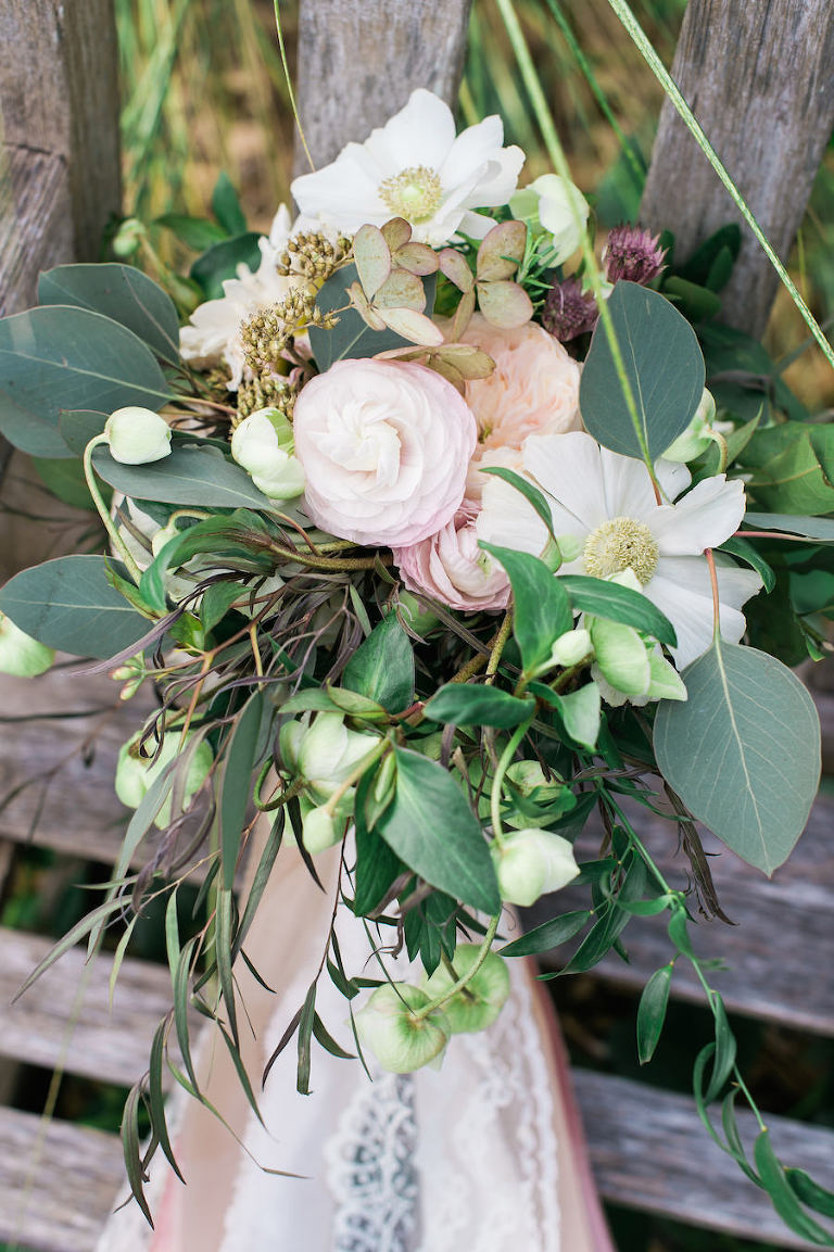 Rustic Bridal Wedding Bouquet with Blush and Ivory Ranunculus and Greenery | Sarasota Wedding Florist Andrea Layne Floral Design
