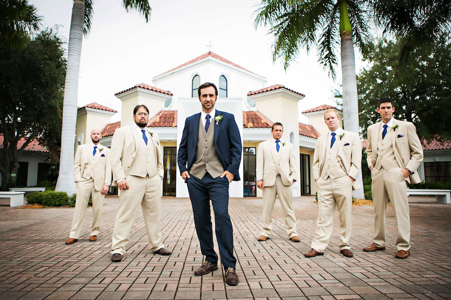 Outdoor Bridal Party Wedding Portrait Of The Groom In A