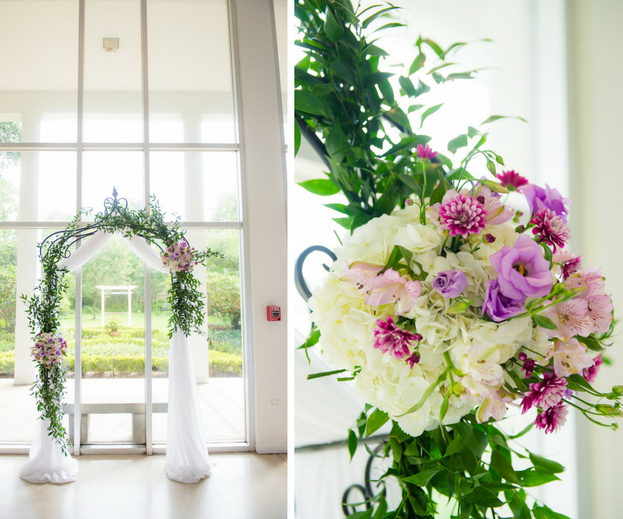 Garden Themed Wedding Ceremony Arch with Tulle, GreeneryNature Inspired Beach Arches and Ivory and Purple Floral Accents   South Tampa Wedding Florist Apple Blossoms Floral Design   Photo by Kera Photography