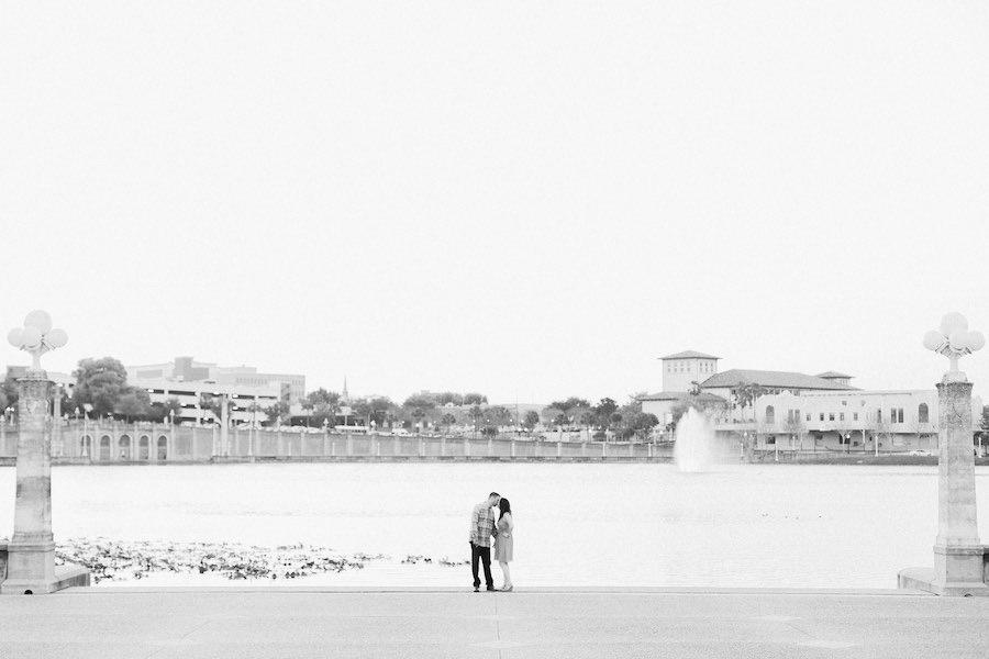 Outdoor, Lakeland Lake Mirror Waterfront Engagement Session Portrait on Bridge   Lakeland Engagement Ring Detail Portrait   Tampa and Lakeland Wedding and Engagement Photographer Ailyn La Torre Photography