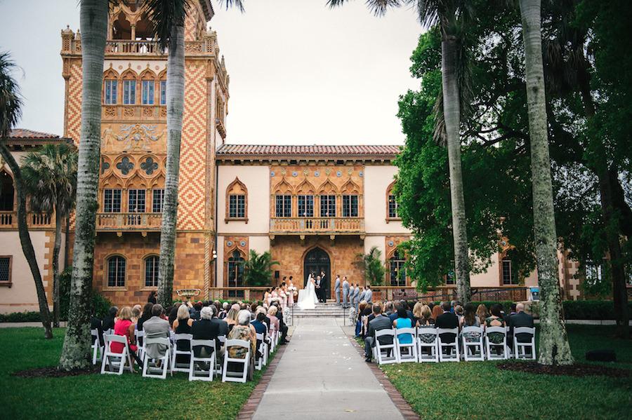 Outdoor Florida Wedding Ceremony at Sarasota Wedding Venue Ca D'Zan Ringling Mansion   Sarasota Wedding Planner NK Productions
