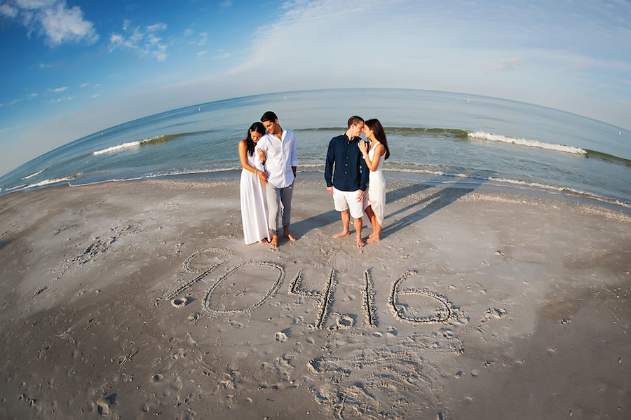 Outdoor, Beachfront Joint/Double Sister Engagement Session with Date in Sand   Clearwater Wedding Photographer Limelight Photography