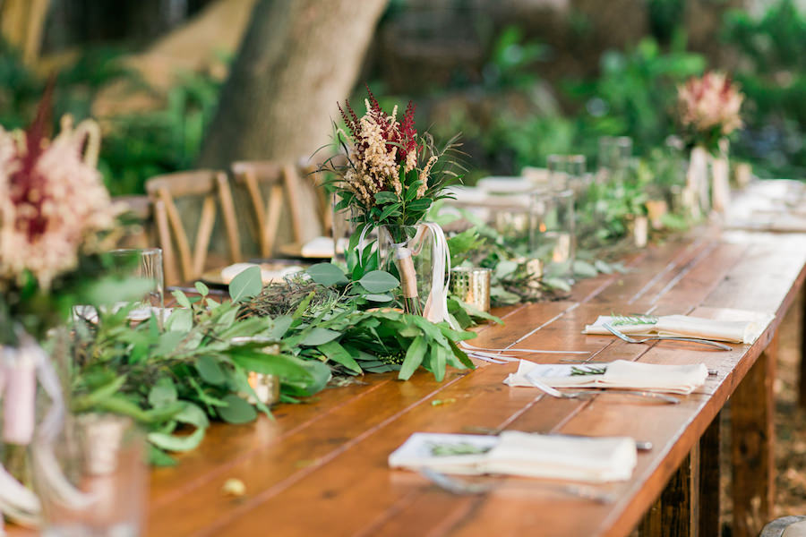 Rustic Outdoor Wedding Reception Décor with Blush, Champagne and Green Centerpieces on Wooden Feasting Farm Tables   Sarasota Wedding Florist Andrea Layne Floral Designs   Rentals by A Chair Affair