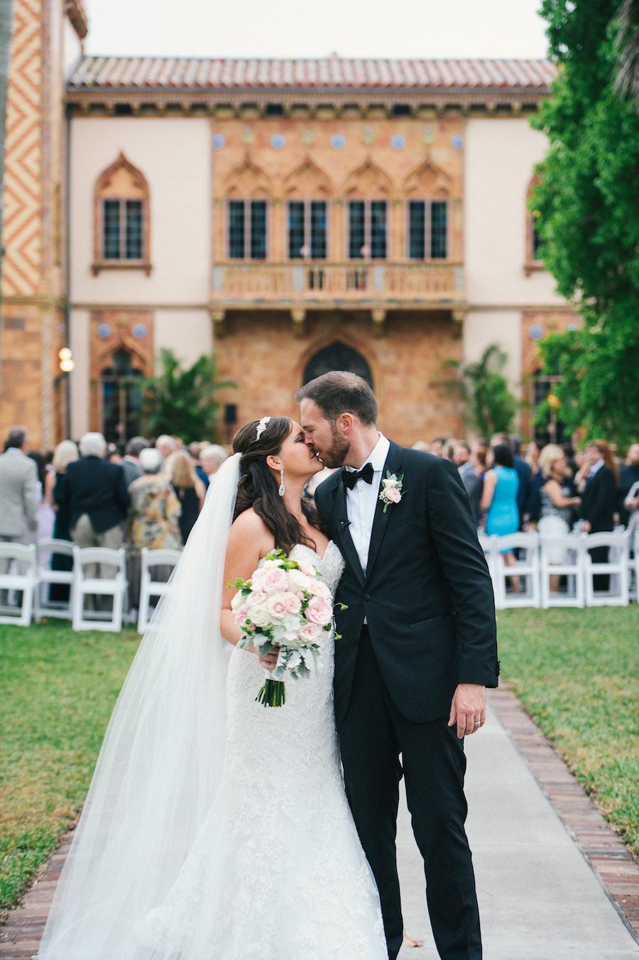 Bride and Groom Walking Down The Aisle | Outdoor Sarasota Ceremony Wedding Venue Ca D'Zan Ringling Mansion | Sarasota Wedding Planner NK Productions
