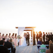 Florida Sunset Beach Wedding Ceremony on Clearwater Beach with Driftwood and Tulle Wedding Arch | Clearwater Beach Wedding Photographer Limelight Photography