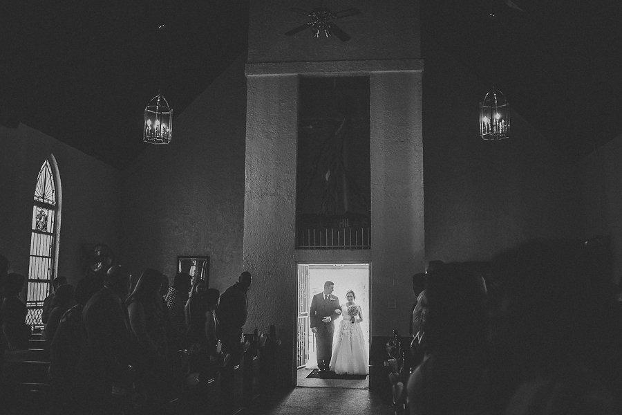 Bride Walking Down The Aisle Wedding Portrait | Ybor City Wedding Ceremony Venue Amazing Ministries Tampa