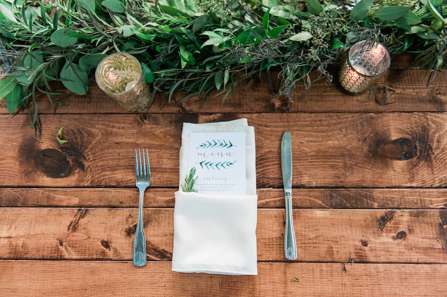 Rustic Wedding Reception Table Setting Décor with Wooden Feasting Farm Tables and Mercury Glass Votives   Sarasota Wedding Florist Andrea Layne Floral Designs   Rentals by A Chair Affair