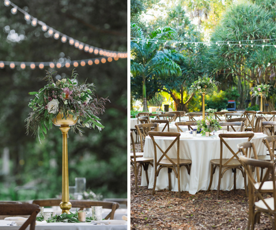 Outdoor Garden Wedding Reception Décor with Rustic Wooden Chairs and Tall Blush and Champagne Wedding Centerpieces with Greenery   Sarasota Wedding Florist Andrea Layne Floral Design  Rentals by A Chair Affair