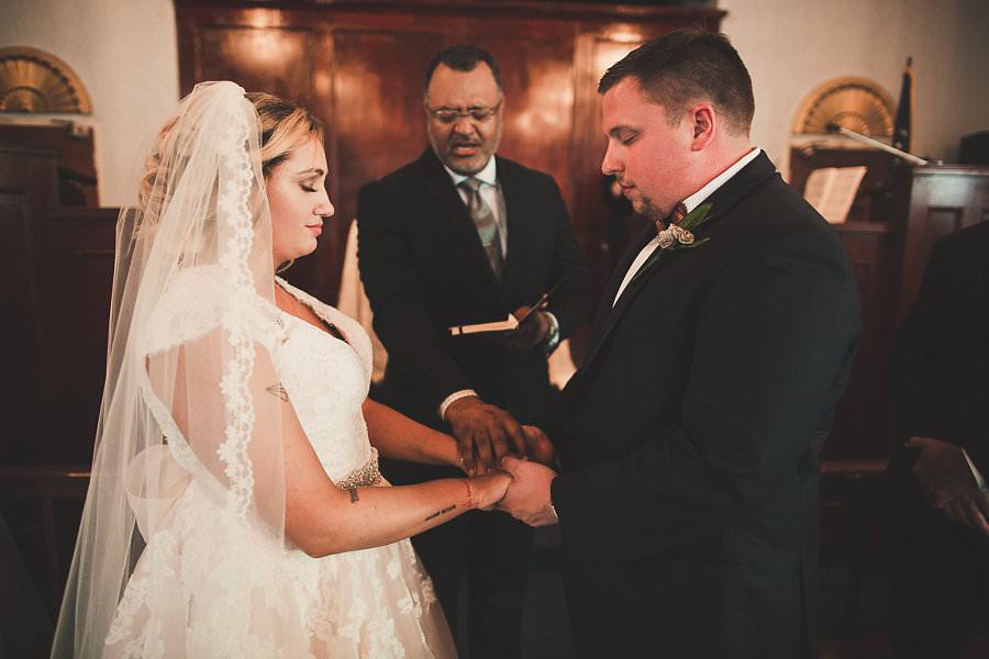 Bride and Groom Wedding Ceremony Portrait at Amazing Love Ministries Ybor City