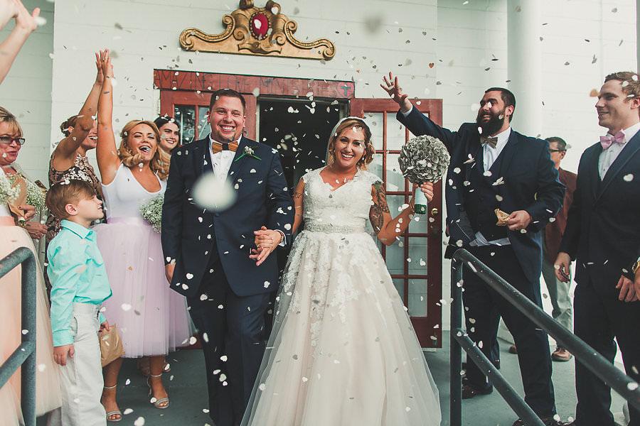 Eco Friendly Toss Wedding Portrait at Ybor City Wedding Ceremony Venue Amazing Love Ministries