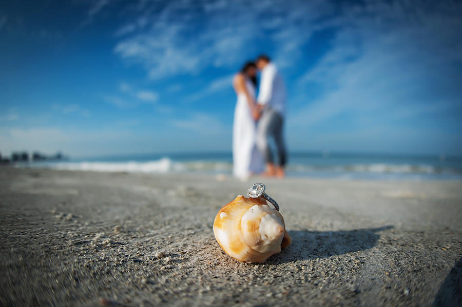 Outdoor, Waterfront Clearwater Beach Engagement Session with Engagement Ring on Seashell   Clearwater Wedding Photographer Limelight Photography