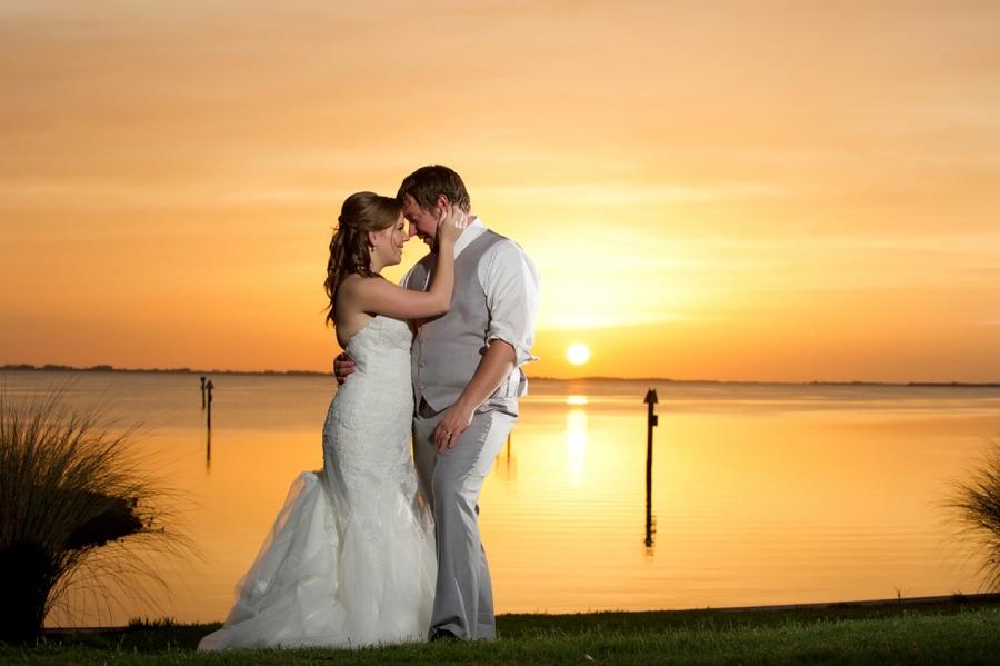 Florida Waterfront Sunset Wedding Portrait of Bride and Groom   Tampa Wedding Photographer Andi Diamond Photography