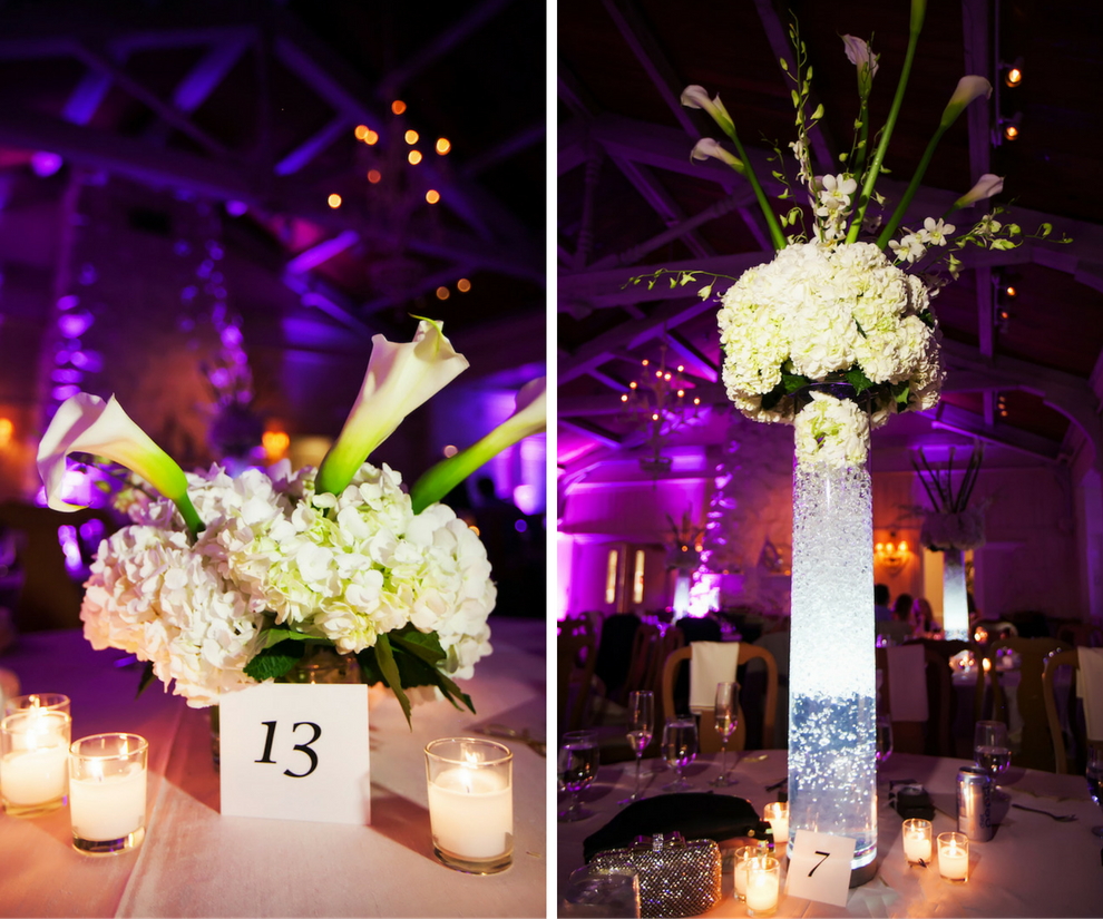 Tall White Hydrangea And Lily Wedding Centerpiece Flowers In Clear