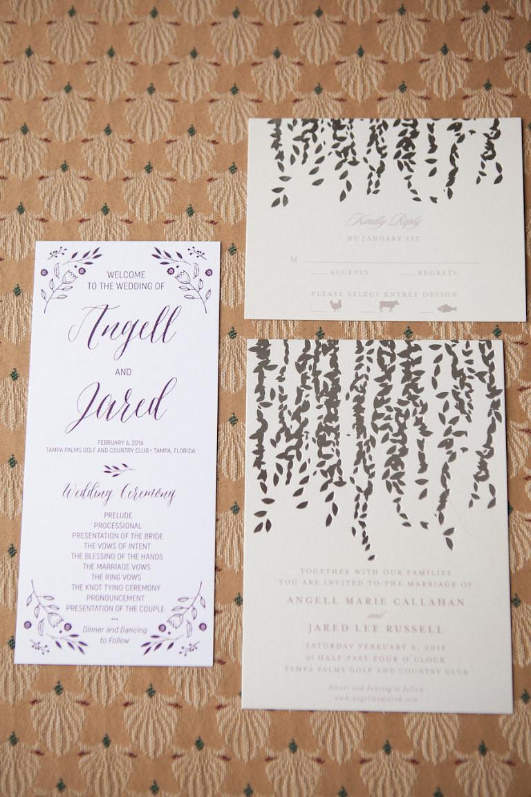 Purple and Ivory Wedding Invitation Stationary