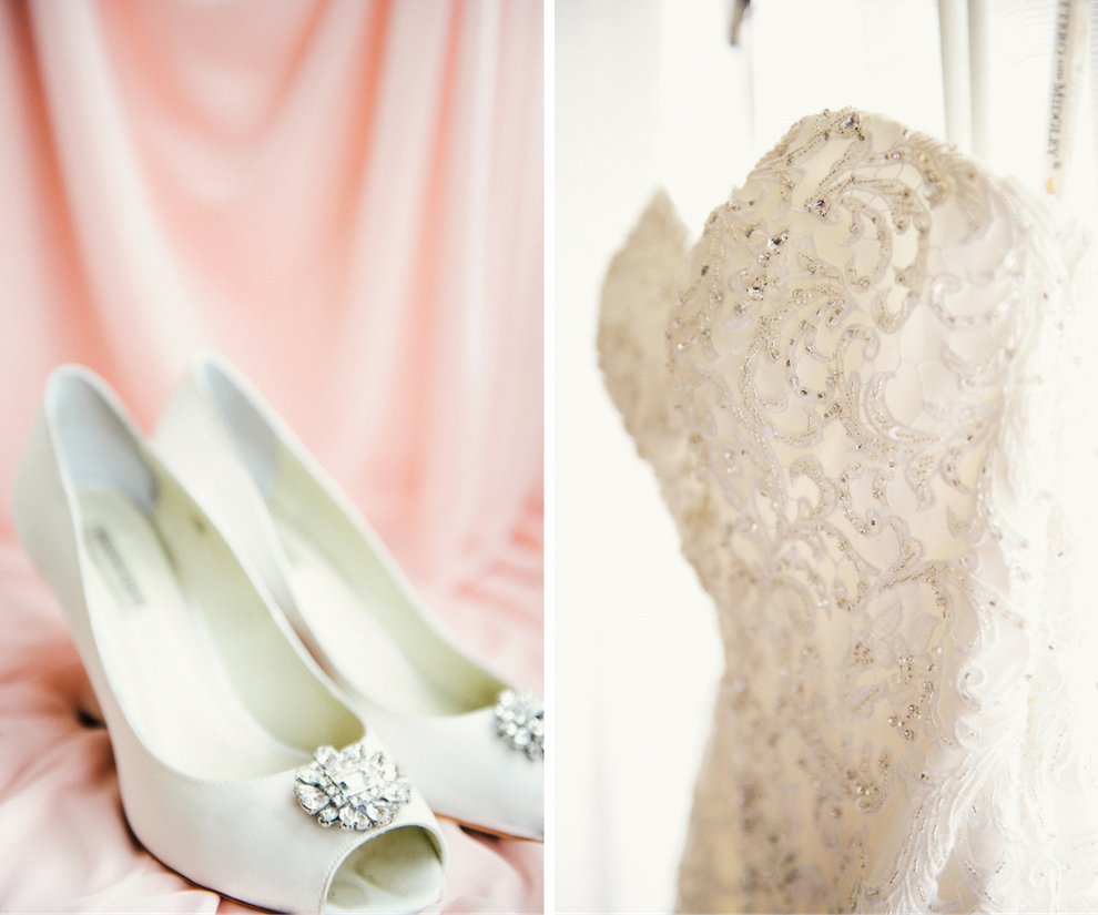 White Satin Open-Toe Bridal Shoes with Rhinestone Brooch and Beaded Sweetheart Strapless Wedding Gown on Blush Satin