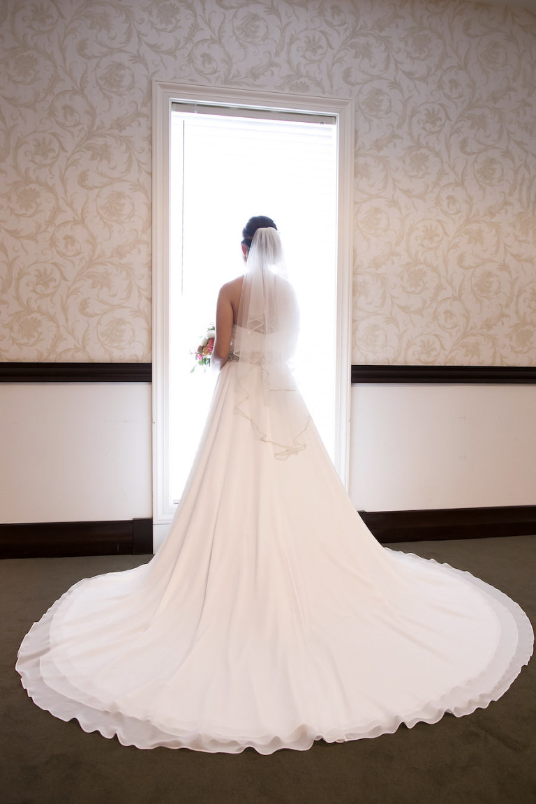 Lithia, Indoor Bridal Wedding Portrait in Ivory Wedding Dress and Veil | Tampa Wedding Photographer Carrie Wildes Photography
