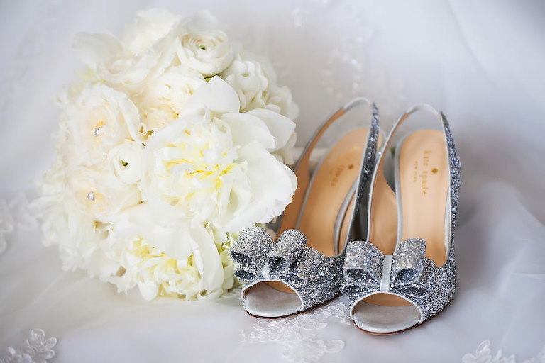 Silver Sparkly Bling Wedding Shoes with Bow Accent and White Floral Wedding Bouquet | Kate Spade 'Charm' Slingback Pump | Clearwater Wedding Photographer Limelight Photography
