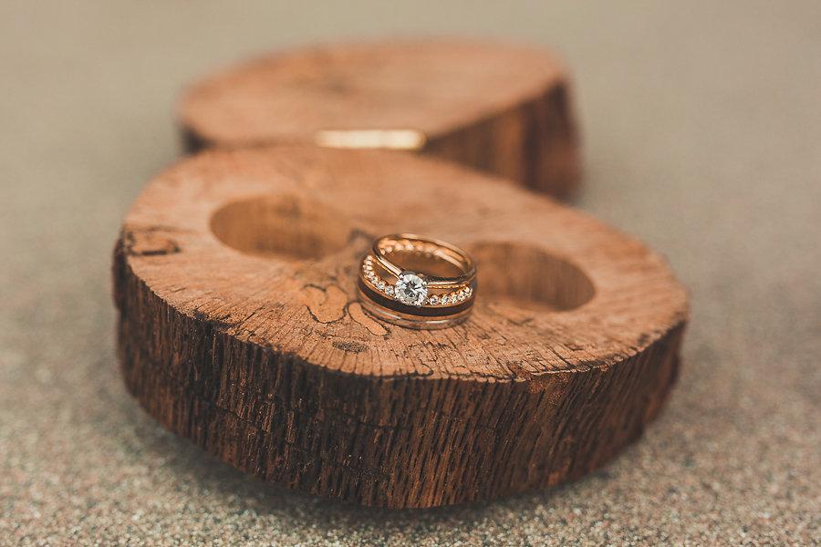 Bridal Wedding Band and Princess Cut Engagement Ring Portrait on Wood Round Slab