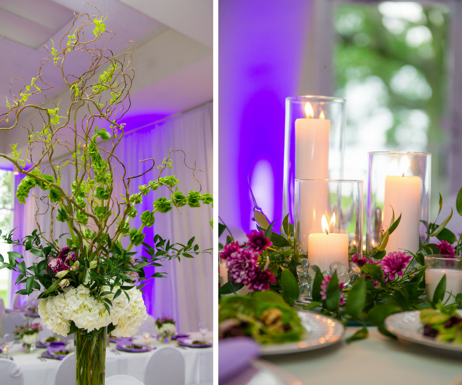 Garden Theme Wedding Reception Decor With Ivory Purple And