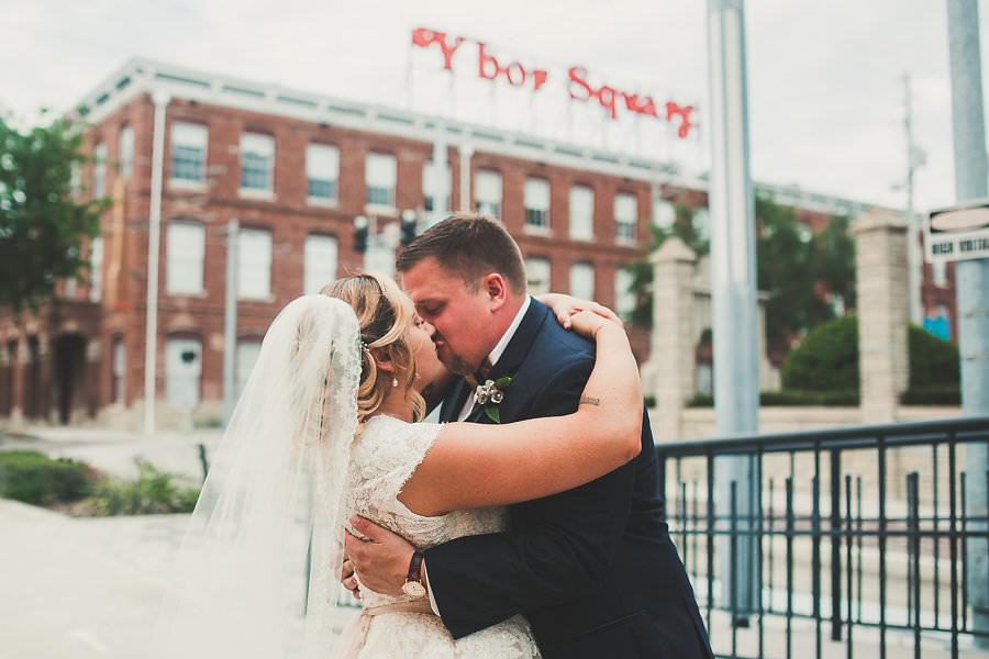 Ybor City Square Tampa Bride and Groom Wedding Portrait