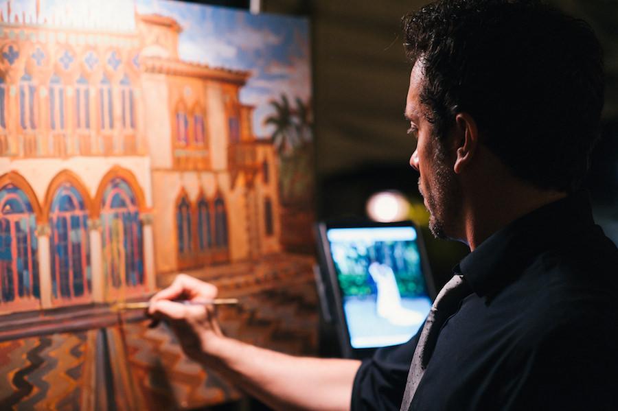 Live Event Painter at Sarasota Wedding on Canvas   Wedding Entertainment Ideas