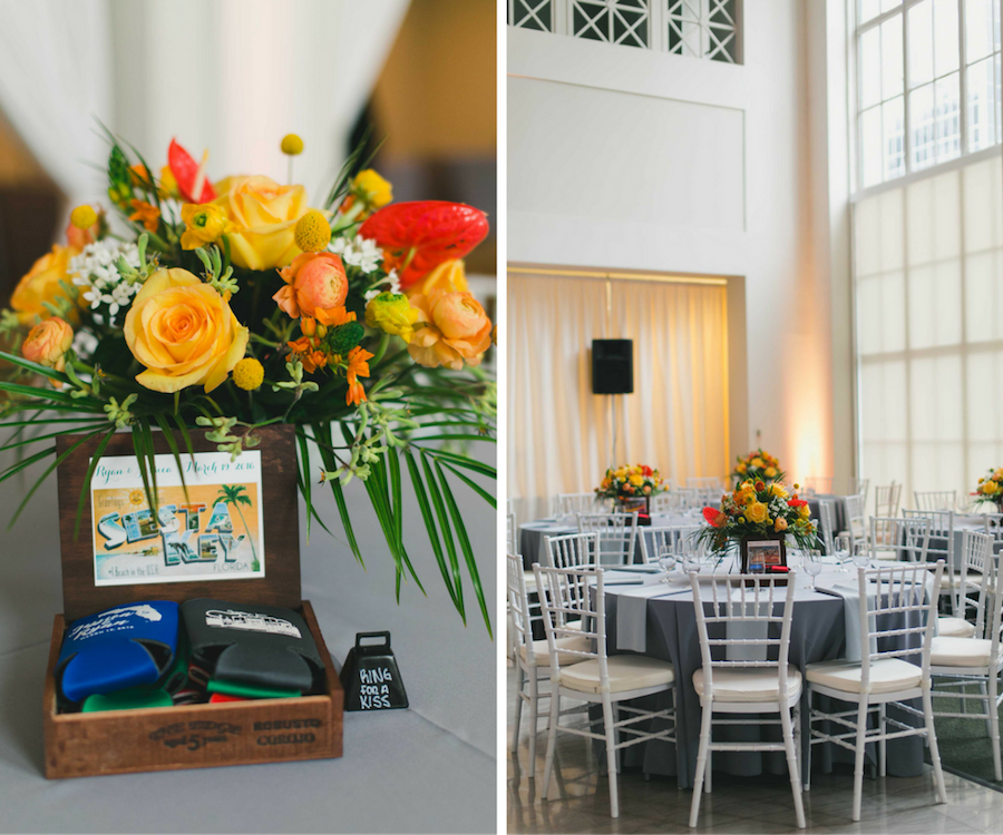 Orange And Yellow Wedding Centerpieces In Cigar Boxes Yellow