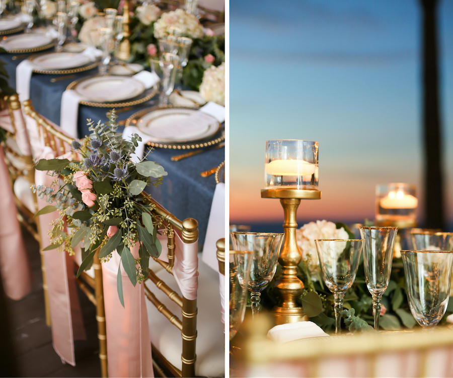 Blush, Navy and Gold Wedding Reception Décor at Hilton Clearwater Beach; Clearwater Beach, Florida   Navy Burlap Table Linens with Blush Satin Chair Sashes by Over The Top Linens on Gold Chiavari Chairs by Signature Event Rentals with Tall, Gold Candelabras