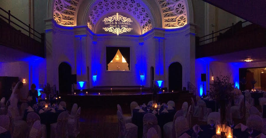 GOBO Monogram Lighting at Wedding Reception with Uplighting | Tampa Bay Lighting and DJGrant Hemond & Associates