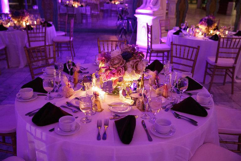 Purple Uplights at Wedding Reception