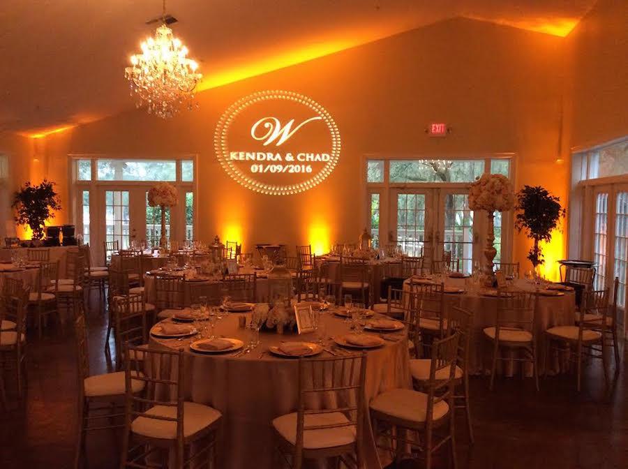 GOBO Monogram Lighting at Wedding Reception