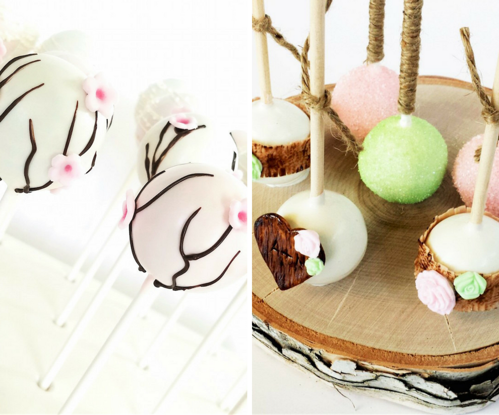 Spring Cherry Blossom and Rustic Wedding Cake Pops   Tampa Wedding Cake Pop Baker Sweetly Dipped Confections