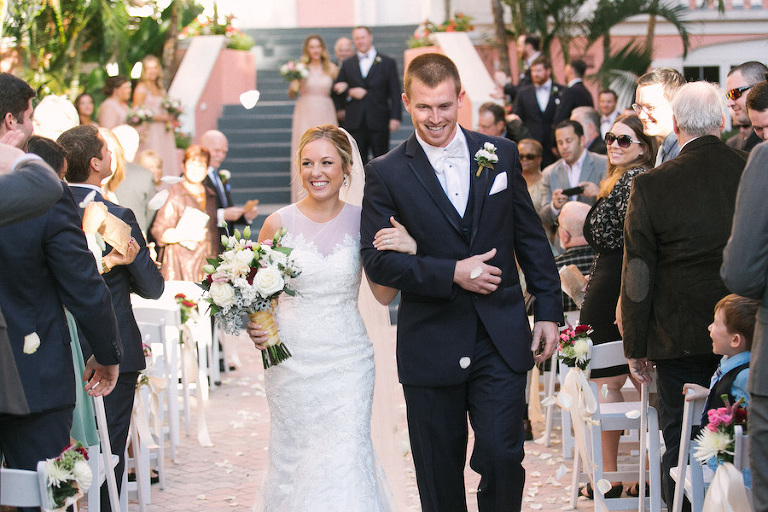Bride and Groom Wedding Ceremony Recessional |Loews Don Cesar Hotel Wedding Venue on St. Pete Beach