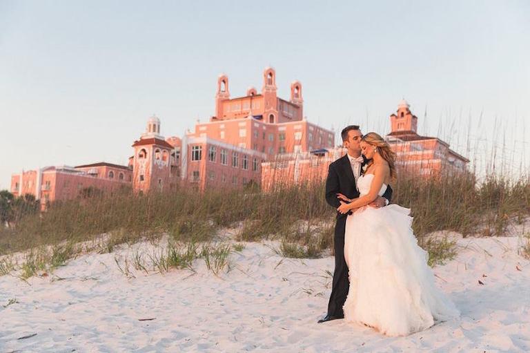 Bride and Groom Wedding Beach Portrait | Loews Don Cesar Hotel Wedding Venue on St. Pete Beach