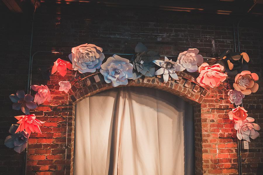 Paper Flower Wedding Ceremony Arch | Green Earth Friendly Wedding Décor Ideas | Eco-Conscious Wedding Decor | Historic Tampa Ybor City Wedding Venue CL Space