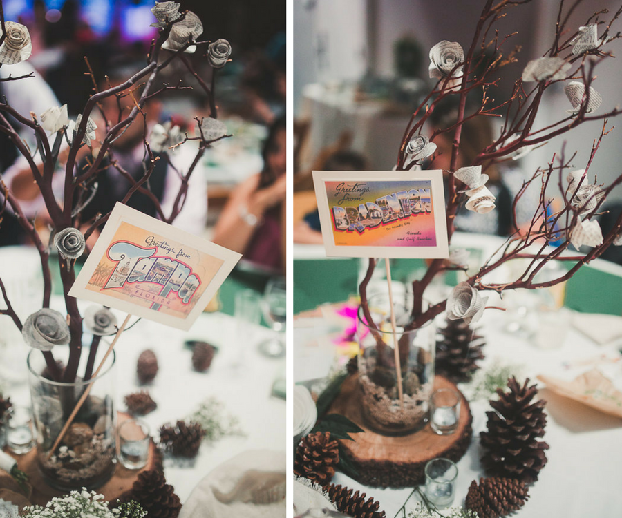 Eco-friendly Earth Wedding Reception Décor with Manzanita Branches, Pinecones and Wood Rounds with Paper Flowers in Glass Vase and Vintage Tampa Postcard Centerpieces