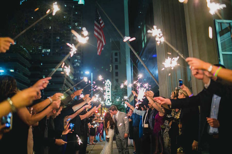 Bride and Groom Wedding Reception Sparkler Exit at Downtown Tampa Wedding Venue The Vault | Tampa Florida Wedding Photographer Roohi Photography