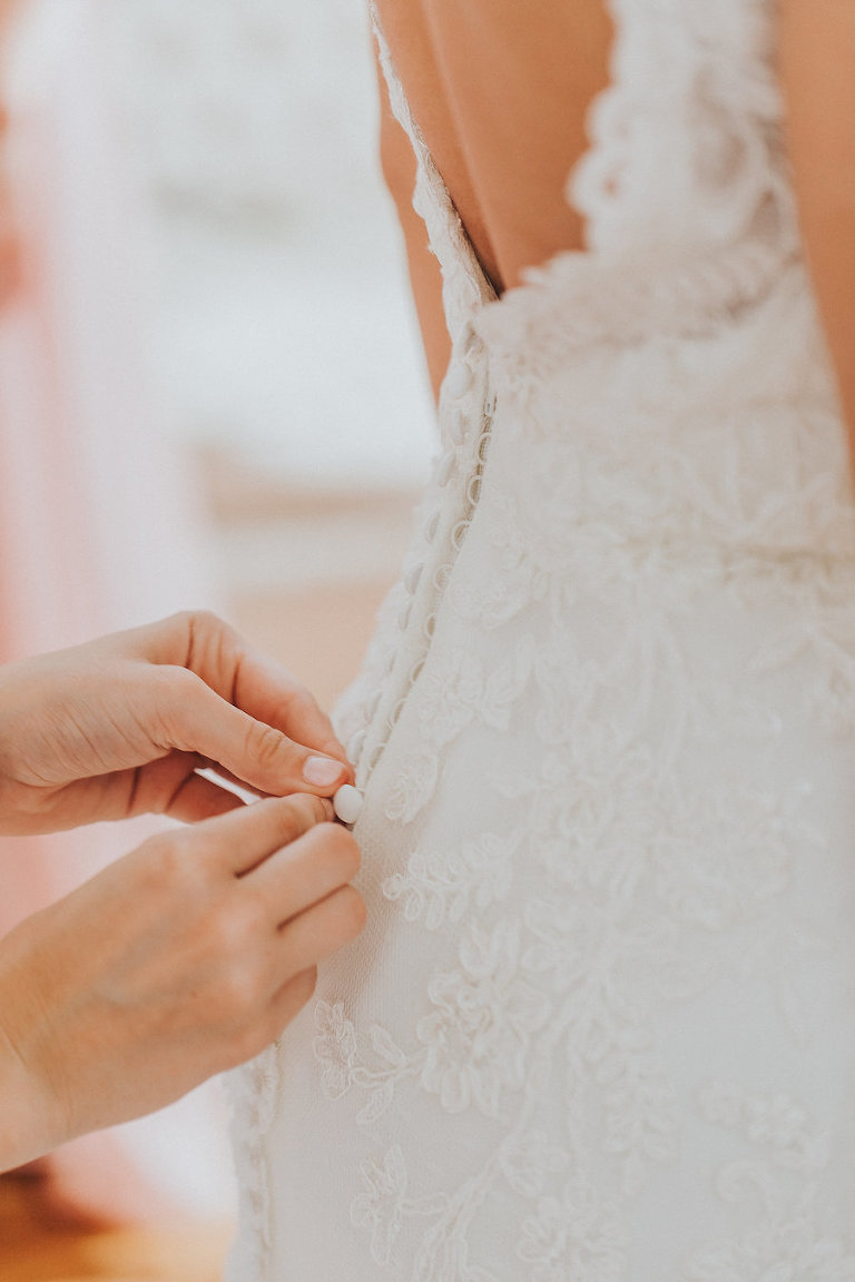 Bride Getting in Wedding Dress Detail, Lace, Ivory Wedding Dress