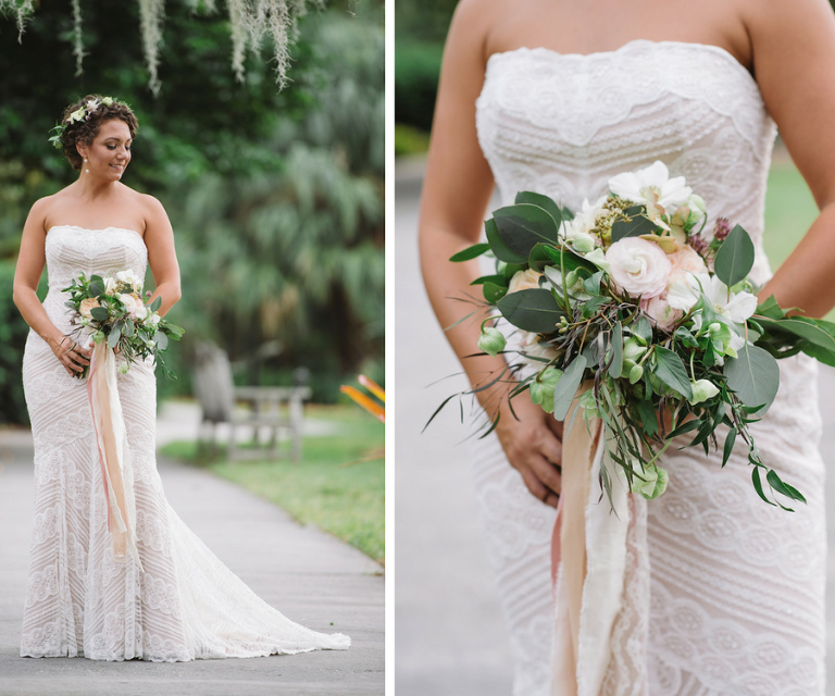 Bridal Wedding Portrait in Champagne Lace Overlay Strapless Watters Wedding Dress with Flower Crown and Ivory and Blush Floral Wedding Bouquet | Sarasota Wedding Florist Andrea Layne Floral Design | Rustic Lace Wedding Dress Ideas
