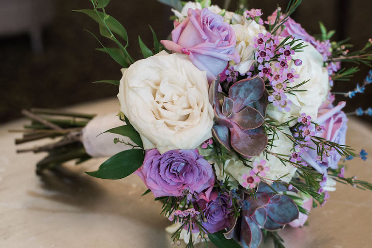 Wedding Bouquet with Purple and Ivory Flowers and Succulents | Tampa Wedding Florist Andrea Layne Floral Design