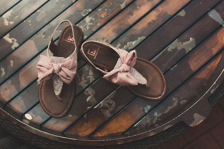 Glitter T-Strap Wedding Shoe Sandal with Blush Bow