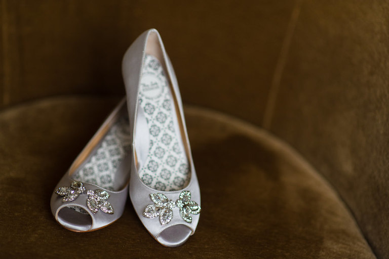 Bridal Pale Lilac Open Toed Wedding Shoes with Rhinestone Broach | South Tampa Wedding Photographer Kera Photography