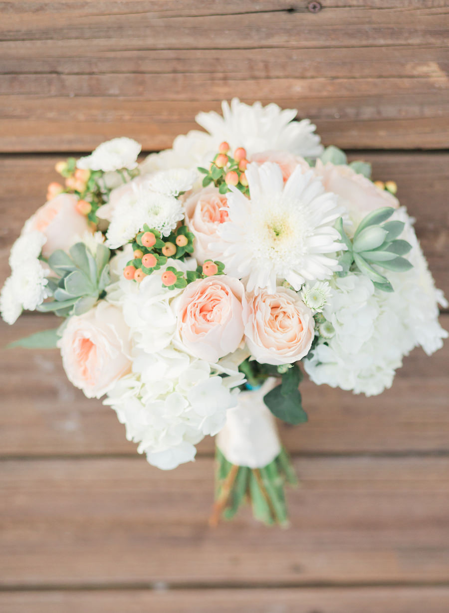 White Blush Pink And Green Floral Bridal Wedding Bouquet Marry