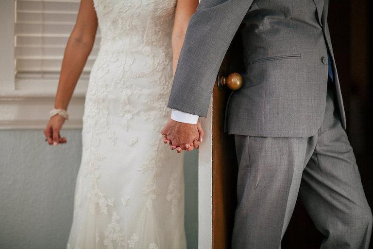 Bride and Groom First Touch Wedding Portrait | Lakeland Wedding Photographer Rad Red Creative