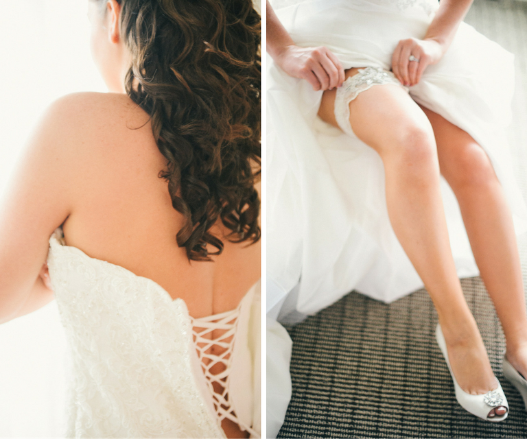 Bride Getting Ready Details Wedding Portrait | Putting On Dress and Rhinestone Wedding Garter