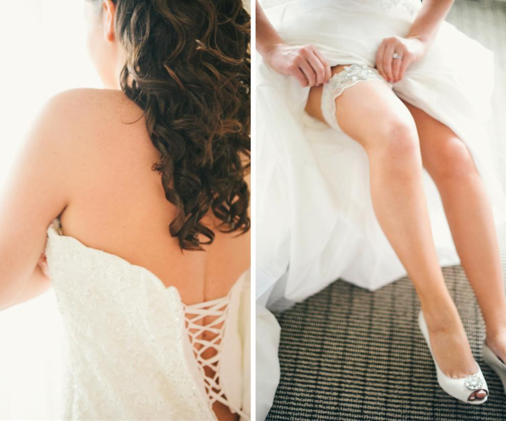 Bride Getting Ready Details Wedding Portrait   Putting On Dress and Rhinestone Wedding Garter