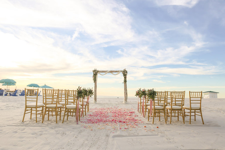 Blush and Gold Beachfront Wedding Ceremony at Wedding Venue Hilton Clearwater Beach | Flowers by Iza's Flowers, Gold Chiavari Chairs by Signature Event Rentals